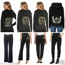 NWT Juicy Couture Velour Tracksuit Women Black Embellished Jacket Pants xlarge