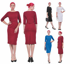 WOMENS OFFICE WORK WIGGLE PENCIL BODYCON LONG SLEEVE TEA MIDI COCKTAIL DRESSES