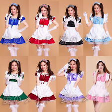 8 Colors Cute Lolita Apron Maid Dress Meidofuku Uniform Outfits Cosplay Costumes