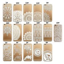 Ultra Thin Clear Hard PC Flower Pattern Back Case Cover For Samsung&iPhone Nice