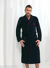 Mens Gents 100% Cotton Bathrobe Dressing Gown Housecoat Collar, Belt and Pockets