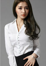 Spring New style Women Bodysuit Blouse V-neck Ruffled Button OL Slim White Shirt