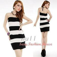 Sexy Womens Ladies Strapless Stripes Backless Christmas Party Mini Dresses lI