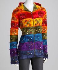Rising International Patchwork S M L XL 1X 2X Hippie Boho Rainbow Hoodie Jacket
