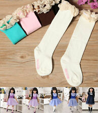 Baby Kids Girl Lace Bowknot In Tube Socks Knee-high Socks Candy Color Tight