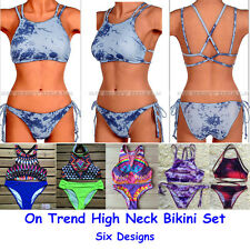 High Neck Crop Top Strappy Tie Dye Geo Print Two Piece Bikini Set Swimsuit