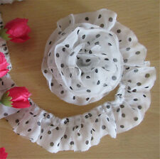 5 Yard 2-layer Dot Pleated Lace Edge Trim Gathered Mesh Ribbon DIY Sewing Crafts