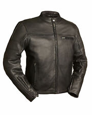 "FMC Mens Black Leather Motorcycle Scooter Jacket ""THE MANCHESTER""  FIM255NOCZ"