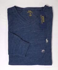 POLO RALPH LAUREN MENS COTTON JERSEY V-NECK T-SHIRT SOLID TEE BLUE -NWT