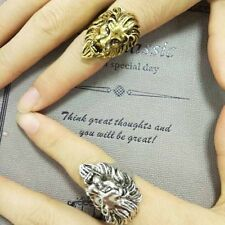 Stainless Steel Gift Lion's Head Ring Men's Vintage Cool Ring American Size 8-10
