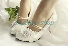 Womens Floral Pearl Bowknot Wedding Stiletto Heels Pumps Bride Shoes Mary Jane