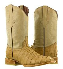 mens beige crocodile alligator tail leather western cowboy boots riding square