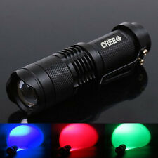 Ultrafire CREE Mini LED Flashlight Torch Red Blue Green UV Light Outdoor Hiking