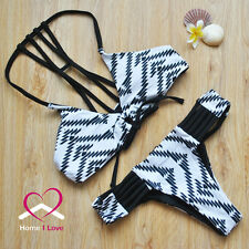Sexy Bikini Adjustable Top with Strappy Bands&Brazilian Cut Bottom White&Black