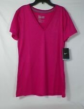 NIKE WOMEN DRI-FIT LEGEND ATHLETIC TRAINING TOP V-NECK SHORT SLEEVED #457355-NWT