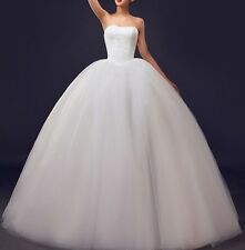 Strapless Lace up White Wedding Dress Bridal Gown Custom Size 6/8/10/12/14/20++