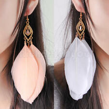 4 Pcs Handmade Earrings Alloy Goose Feather Dangle Long Eardrop Hook Bohemia