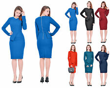 MARYCRAFTS WOMENS ELEGANT LADY WORK OFFICE BUSINESS LONG SLEEVE PENCIL DRESSES