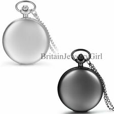 Mens Smooth Metal Case White Dial Arabic Numerals Modern Pocket Watch Necklace