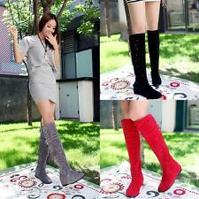 Womens New Knee High Casual Boots Hollow Out Carved Summer Boots Sandal Shoes Sz
