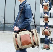 Men's Vintage Canvas Travel Backpack Rucksack Shoulder Military Messenger Bag