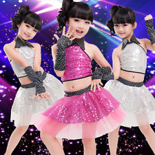 Children's Day Girls Jazz Modern Dance Costumes Ball Gown Stage Sequined Dress