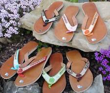LEATHER BATH SLIPPERS BEADS SANDALS 36 37 38 39 40 41 42 Ladies POOL