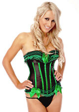 Burlesque Moulin Rouge Boned Corset Bustier Costume Fancy Dress Up Black  Green