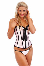 Burlesque Corset Bustier Boned Dress Lace Up Costume Showgirl Moulin Rouge Pink