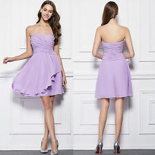 Crinkle Chiffon Short Strapless Bridesmaid's Party Dresses With Front wedding12