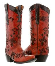 Womens Red Leather Western Cowboy Cowgirl Boots Cross Rocker Rodeo Biker Gothic