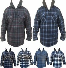 Mens Plaid Sherpa Lined Flannel Jacket Hooded Heavy Fleece