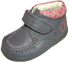 Clarks Alana Fay Grey Girls Leather Velcro Ankle Boots 4 - 10 FG Widths