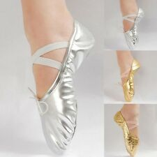 Gold/Silver Women Girl Ballet Pointe Gymnastics Sequins Leather Dance Shoes
