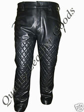 GENUINE MENS PREMIUM LEATHER BREECHES BIKER JEANS PADDED WITH SPANDEX PANTS BLUF