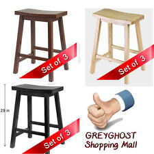 """Heavy Duty Saddle Seat Set of 3 Bar Stools 29"""" Counter Kitchen Furnitures"""