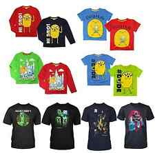 Boys Official Licensed Adventure Time | Minecraft T Shirt | Long | Short Sleeve