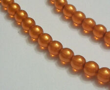 Preciosa Czech pearl coated glass druk ROUND Beads COPPER 6mm 1 strand