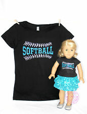 American Girl Doll Clothes - SPARKLE! Matching Girl and Doll Softball Shirts