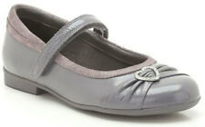 NEW Clarks DOLLY DINA Anthracite Grey Patent Girls Leather Shoes 7- 2 Jun F Fit