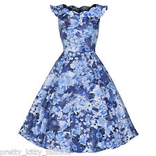 Pretty Kitty Fashion Blue Floral Frill Print Cotton 50s Rockabilly Swing Dress
