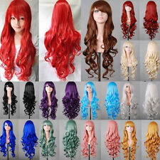 Free Wig Net + 80cm Synthetic Hair Long Curly Wavy Bangs Cosplay Anime Full Wig
