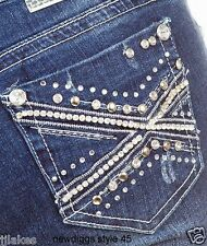 New Bling Jeans Stretch Skinny Leg Denim Embroidered Stones 1 3 5 7 9 11