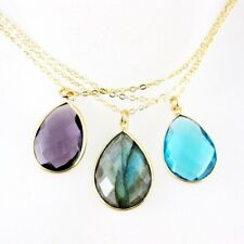 Bezel Gemstone Pear Pendant Necklace -Gold Vermeil Chain and Gemstone Necklace