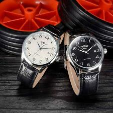 Fashion Mens Automatic Mechanical Watch Leather Strap Unisex Wristwatch Calendar
