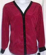 NEW ELEMENTZ PLUS SIZE 2X BLACK & RED LONG SLEEVE STRIPED BUTTON  BLOUSE SHIRT