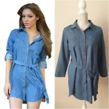 Blue Belted Shirt Dress with Roll Up 3/4 Sleeves M(UK8-10),L(UK10-12)