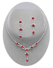Flower Girl Necklace Set Red Crystal and Silver Children's Jewelry Nicely Boxed