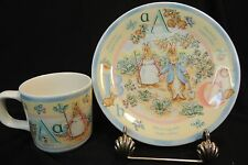 WEDGEWOOD ENGLAND CHILDS PETER RABBIT ABC CUP/MUG AND PLATE FREDERICK WARNE 1997