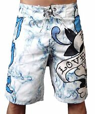 "Ed Hardy ""Love Kills Slowly"" Board Shorts, White 100% Authentic Ed Hardy"